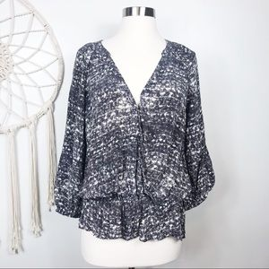 Joie Silk Patterned Faux Wrap Blouse